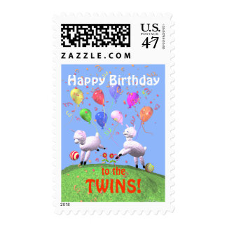Happy Birthday Lambs for Twins Postage