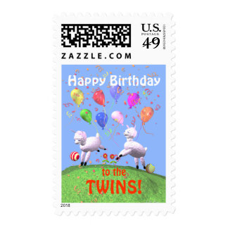 Happy Birthday Lambs for Twins Postage Stamp