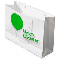 Happy Birthday Large Green Balloon Gift Bag