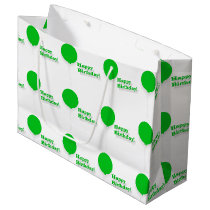 Happy Birthday Large Green Balloons Gift Bag