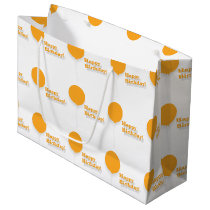 Happy Birthday Large Orange Balloons Gift Bag