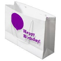 Happy Birthday Large Purple Balloon Gift Bag