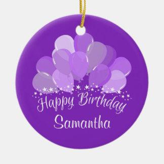 Happy Birthday Lavender Balloons And White Stars Ceramic Ornament