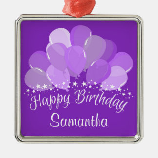 Happy Birthday Lavender Balloons And White Stars Square Metal Christmas Ornament