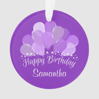 Happy Birthday Lavender Balloons And White Stars Ornament