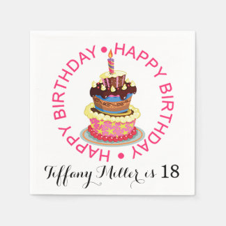 Happy Birthday Layered Cake with Candle Paper Napkin