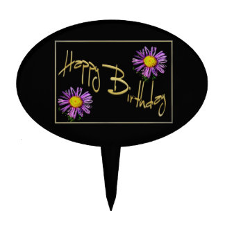 Happy Birthday Lilac Aster Cake Topper