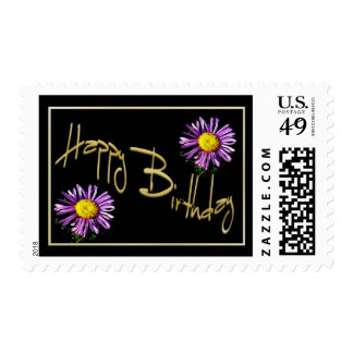 Happy Birthday Lilac Aster Postage