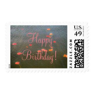 Happy Birthday Lillypads Postage Stamp