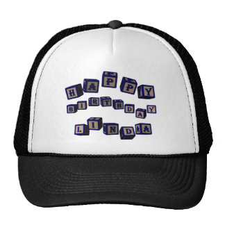 Happy Birthday Linda toy blocks in blue. Trucker Hat