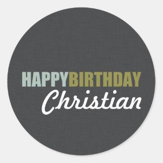 Happy Birthday Linen Grey Classic Round Sticker