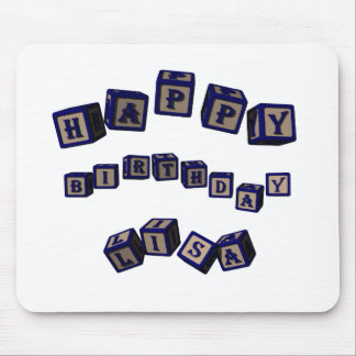 Happy Birthday Lisa toy blocks in blue. Mouse Pad