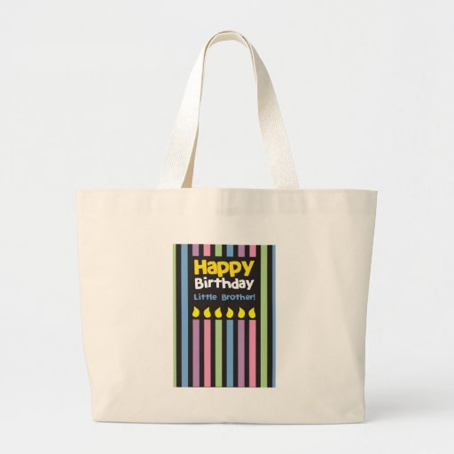 Happy Birthday little Brother stripey Large Tote Bag