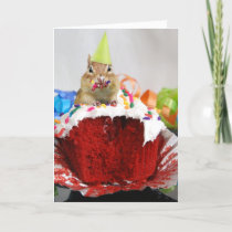 Happy Birthday Little Chipmunk, writing inside Card