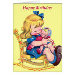 Happy Birthday - Little Girl with Doll Greeting Card