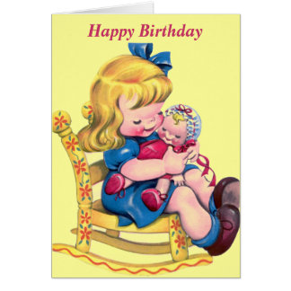 Happy Birthday - Little Girl with Doll Card