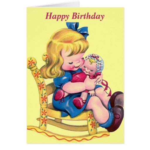 Happy Birthday Wishes Little Girl ~ Happy birthday little girl with doll greeting card zazzle