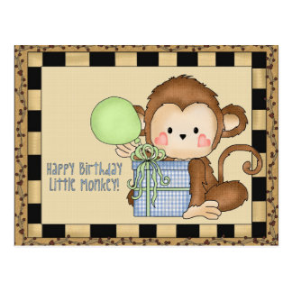 Happy Birthday Little Monkey greeting postcard