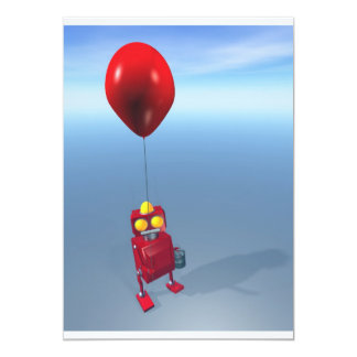 Happy Birthday Little Red Robot Invitation