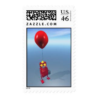 Happy Birthday Little Red Robot Postage