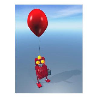 Happy Birthday Little Red Robot Postcard