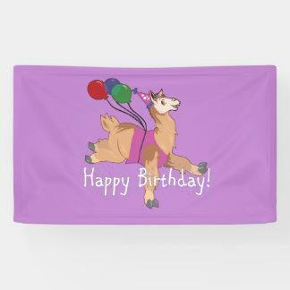 Happy Birthday Llama Banner