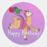 Happy Birthday Llama! Classic Round Sticker