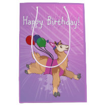 Happy Birthday Llama Medium Gift Bag