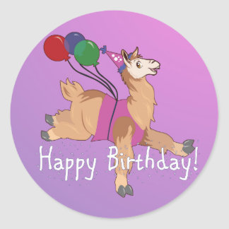 Happy Birthday Llama! Round Stickers