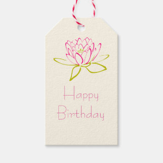 Happy Birthday Lotus Flower / Water Lily Gift Tags