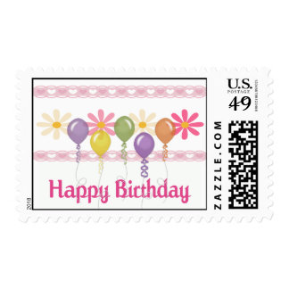 Happy Birthday Love Flowers Postage Stamp