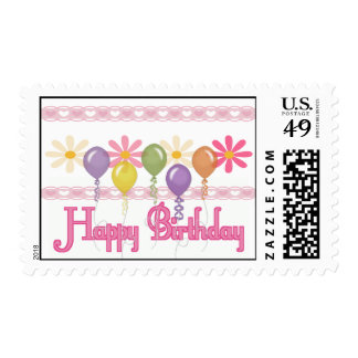 Happy Birthday Love Flowers Stamps