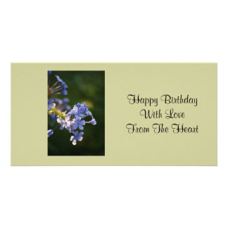 Happy birthday, love from the heart, purple floral card
