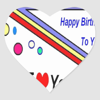 Happy Birthday Love Heart Sticker