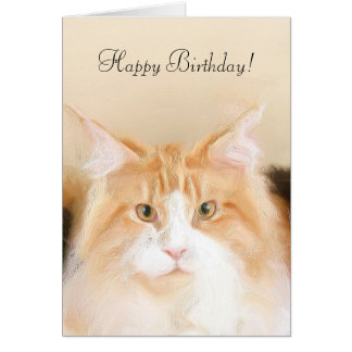 Happy Birthday Main Coon Cat Card