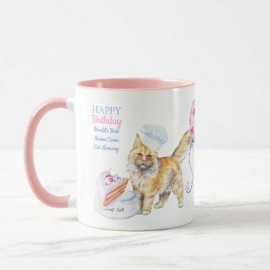 Happy Birthday Maine Coon Cat Mom - Personalized Mug