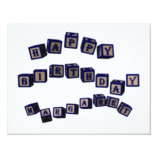 Happy Birthday Margaret toy blocks in blue Card