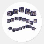 Happy Birthday Margaret toy blocks in blue Classic Round Sticker