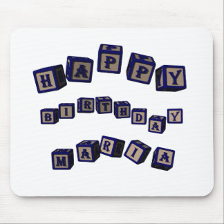 Happy Birthday Maria toy blocks in blue. Mouse Pad