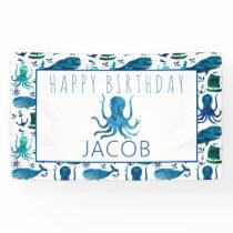 Happy Birthday Marine Nautical Octopus Ocean Kids Banner