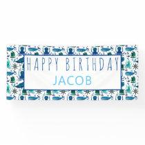 Happy Birthday Marine Nautical Under The Sea Kids Banner