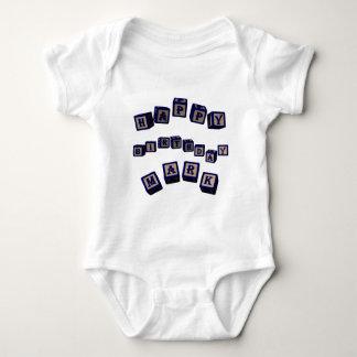 Happy Birthday Mark toy blocks in blue. Baby Bodysuit