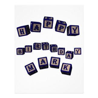 Happy Birthday Mark toy blocks in blue. Letterhead