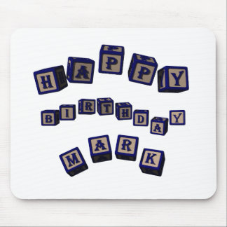 Happy Birthday Mark toy blocks in blue. Mouse Pad