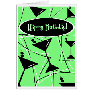 Happy Birthday Martini In Green Card