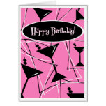 Happy Birthday Martini In Pink Card
