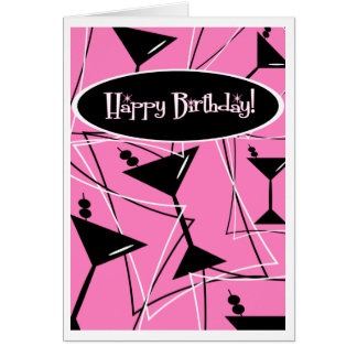 Happy Birthday Martini In Pink Cards