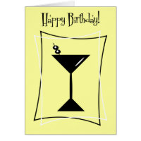Happy Birthday Martini In Yellow Card