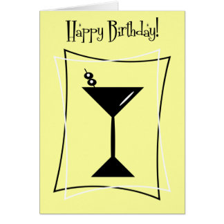 Happy Birthday Martini In Yellow Card