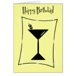 Happy Birthday Martini In Yellow Greeting Cards